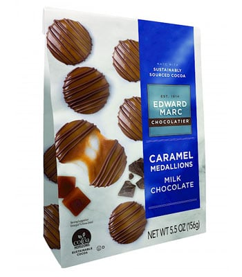 Edward Marc Brands – Dark Chocolate Sea Salt Caramel Medallions