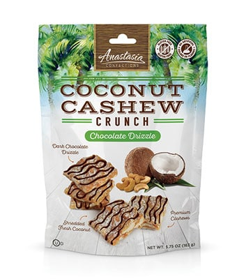 Las Olas Confections and Snacks – Anastasia Coconut Cashew Crunch Dark Chocolate Drizzle