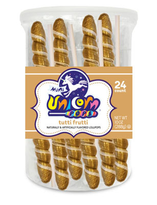 Gold Mini Unicorn Lollipops / Tutti Frutti
