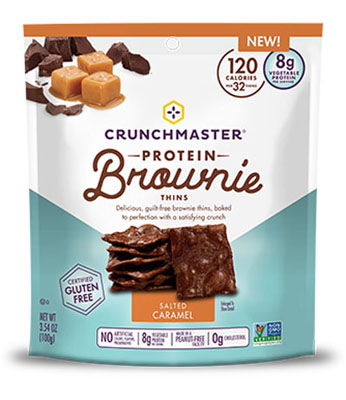 Protein Brownie Thins in Salted Caramel flavor