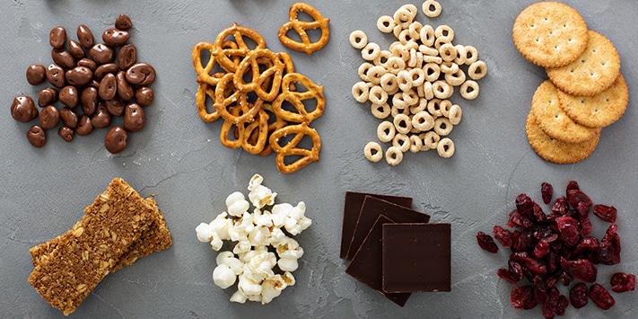 pretzels, popcorn, chocolate